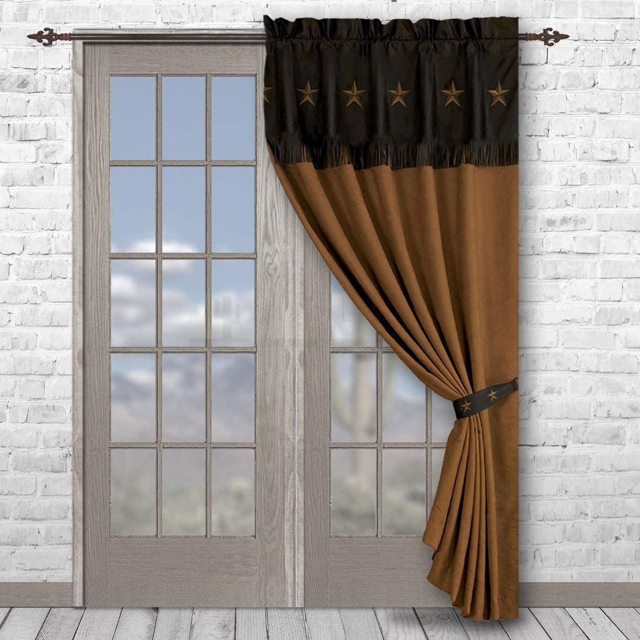 HiEnd Accents Embroidered Western Star Curtain, 60 by 84-Inch, Chocolate – WS2018C-OS-CH