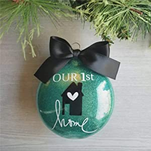 DONL9BAUER Christmas Ball Ornament Our First Christmas in Our New Home Ornament Real Estate Gifts Floating Ornament Baubles Fillable Ball Holiday Hanging Decor for Xmas Tree Wedding Party