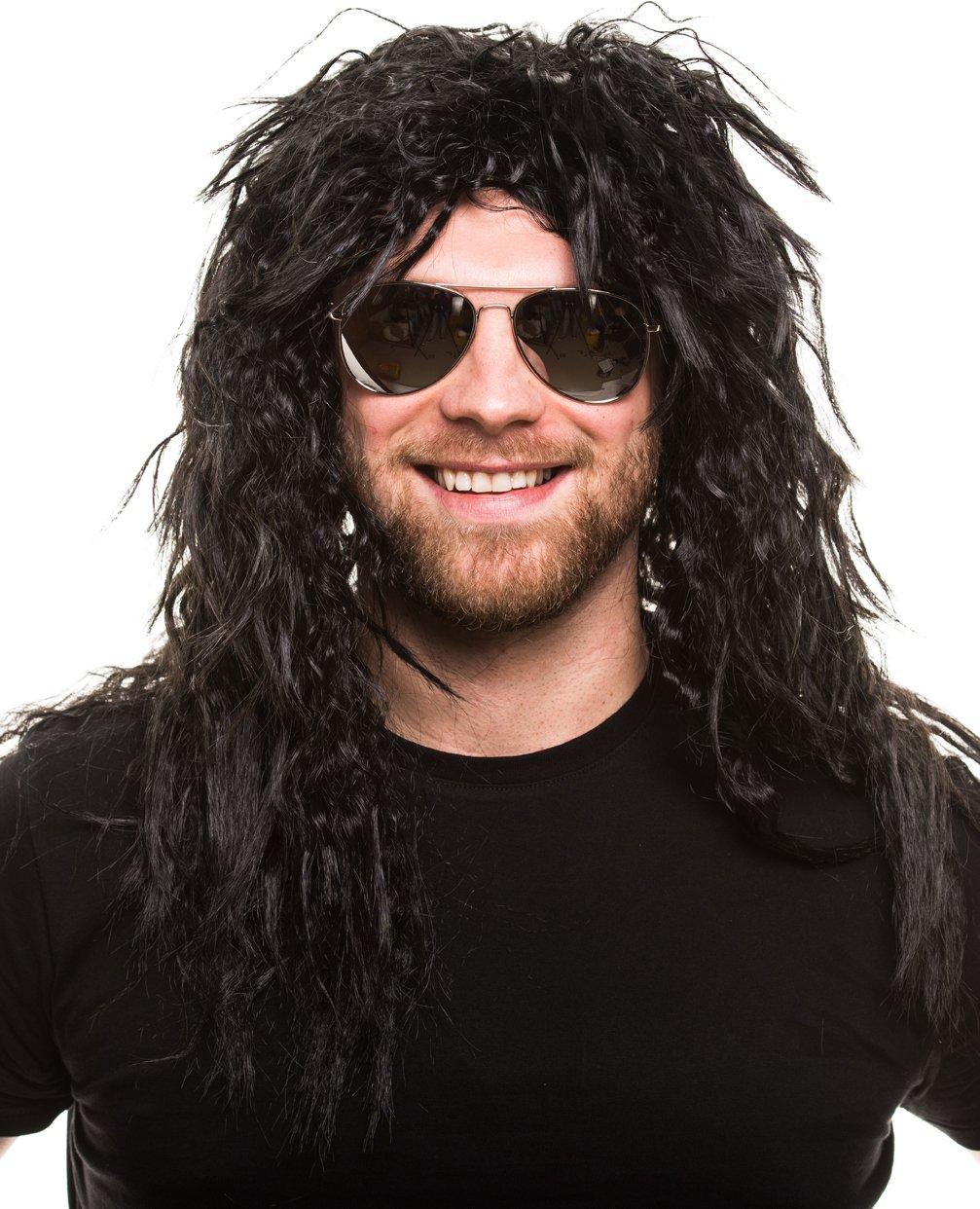Balinco Roquero Pop Peluca Rizado Negro Peluca Hombre Lang Heavy Metal Alice Cooper Rambo Juego Años 80
