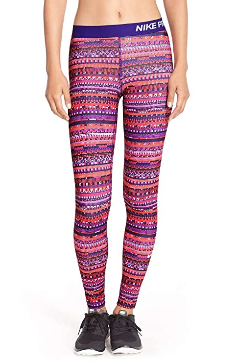 143870132d6da Amazon.com  Nike Pro Womens Printed Pull On Athletic Leggings Orange ...