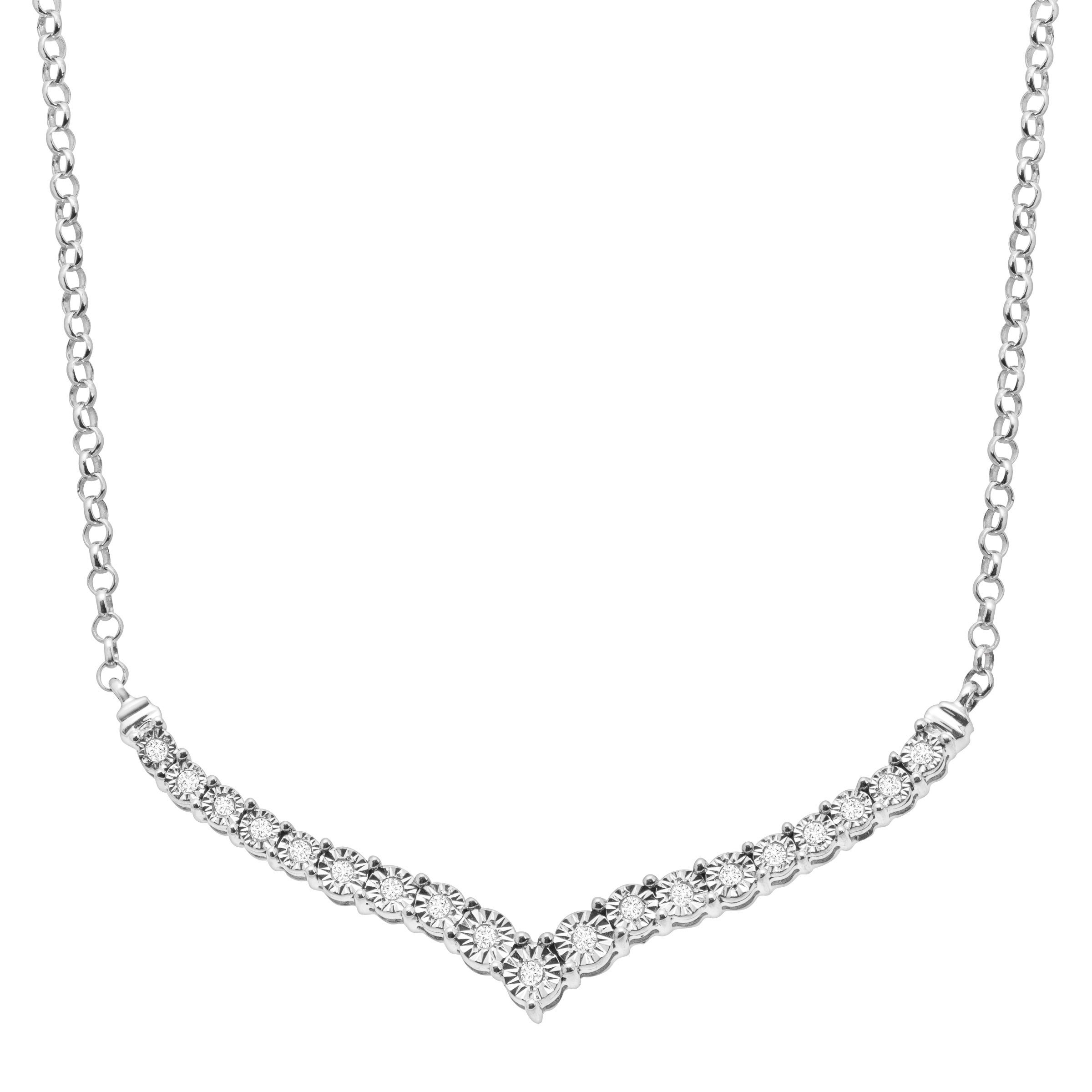 1/4 ct Diamond Chevron Necklace in Sterling Silver
