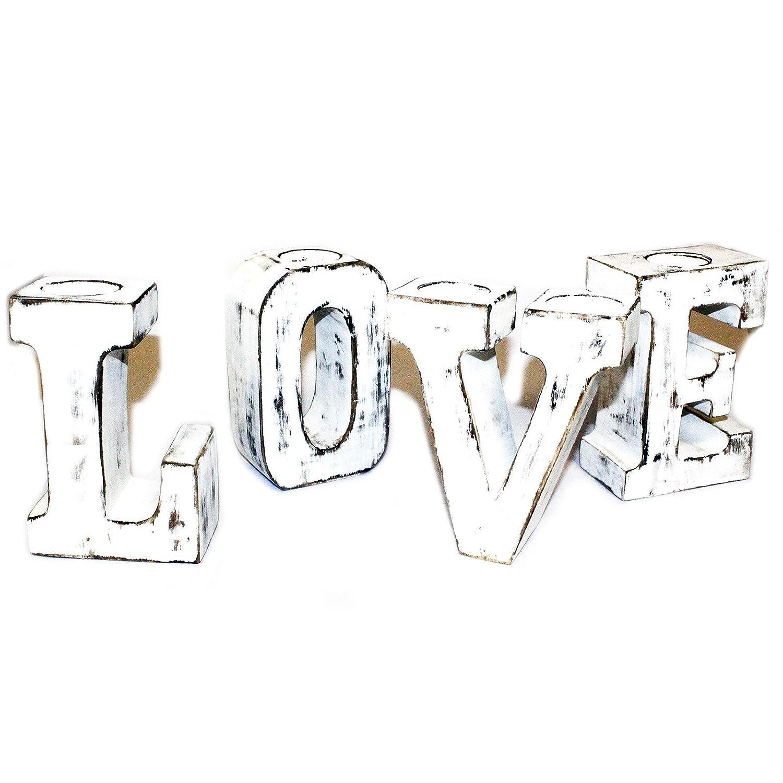 3d grandes cartas de amor diseño de Whitewash rústico Vela ...