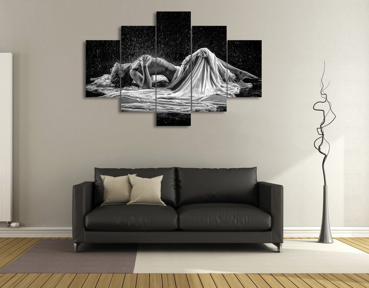 Hot Sexual Girl 5 PCS Wall Art Painting on Canvas for Couples Nude Woman Pictures Naked Body Nude lady Modern for Living Room Home Decor Gallery-wrapped Artwork Framed Ready to Hang(60''Wx40''H)