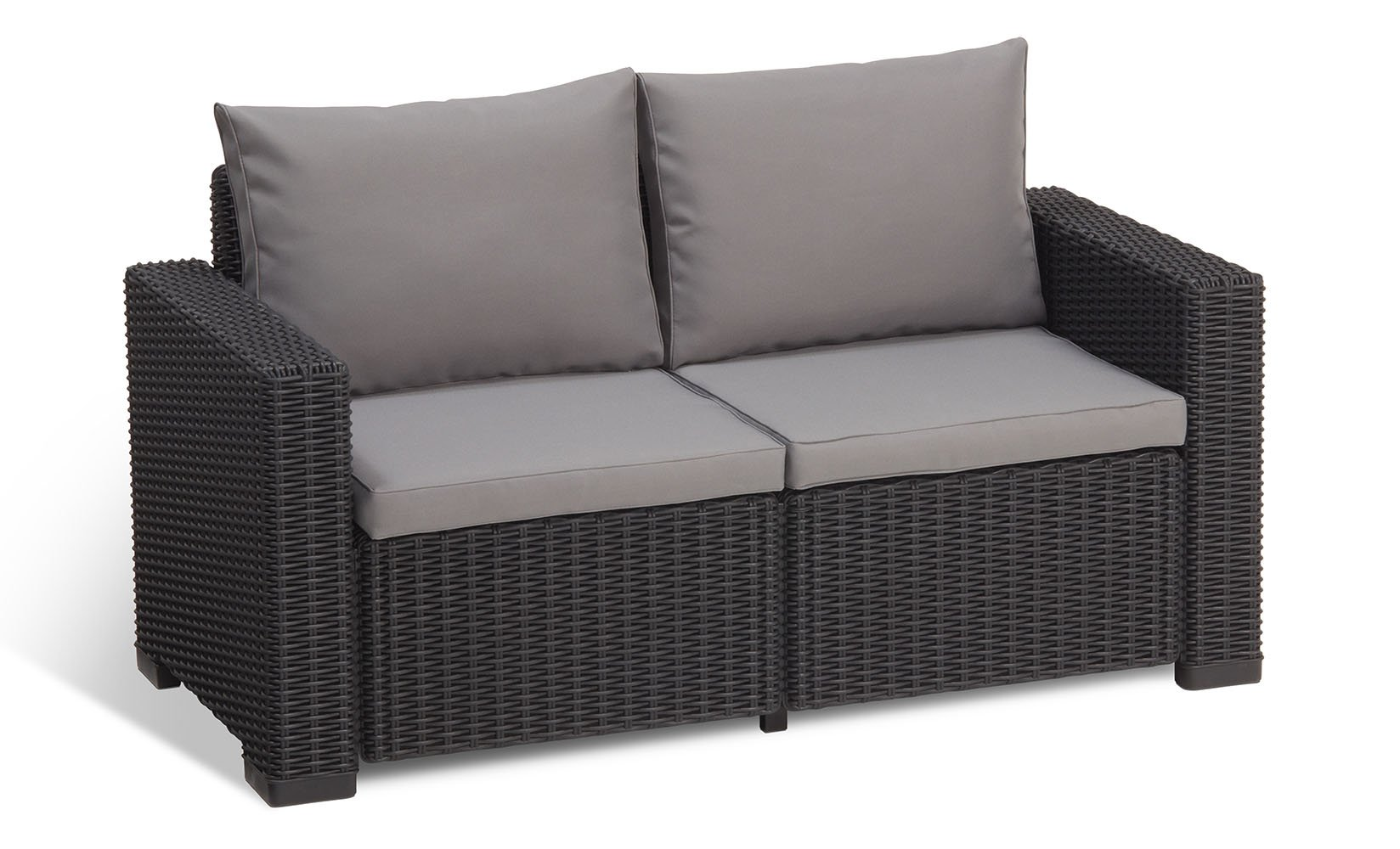 Keter California All Weather Outdoor 2-Seater Patio Sofa Loveseat with Cushions in a Resin Plastic Wicker Pattern, Graphite/Cool Grey by Keter