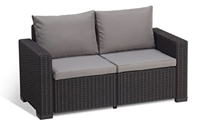 Keter California All Weather Outdoor 2-Seater Patio Sofa Loveseat with Cushions in a Resin Plastic Wicker Pattern, Graphite/Cool Grey