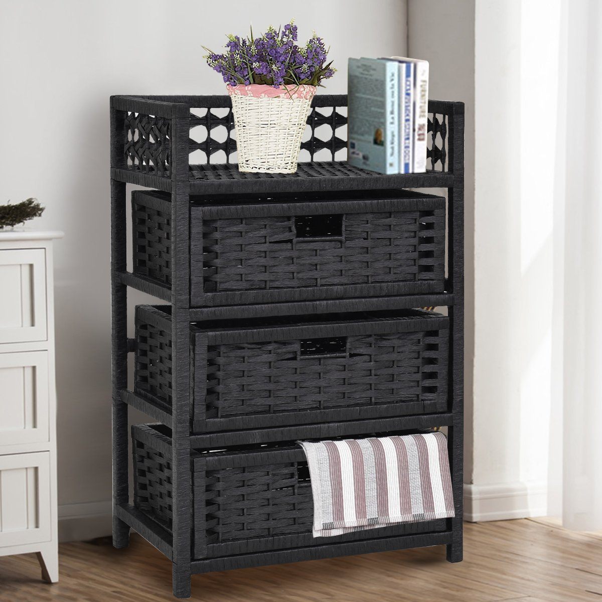Giantex 3-Drawer Storage Organizer End Table Side Cabinet Nightstand Bedroom, Office & Living Room Hand-Woven Paper Rope Storage Chest w/Solid Wood Frame 3 Removable Drawers, Black