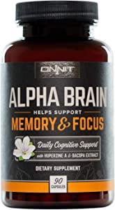 ONNIT Alpha Brain - Over 1 Million Bottles Sold - Premium Nootropic Brain Booster Supplement - Boost Focus, Concentration & Memory - Alpha GPC, L Theanine & Bacopa Monnieri (90 Capsules)