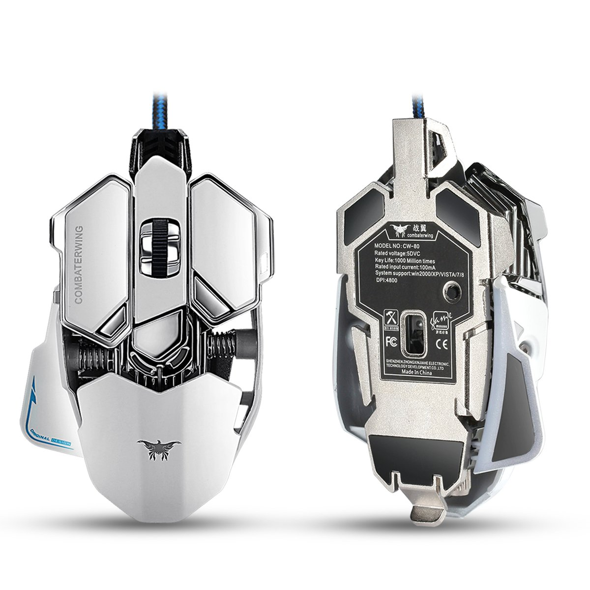 Combaterwing Gaming Mouse 4800 Dpi Aluminum Base 10 Wiring Diagram Optical Free Picture Along With Buttons Rgb Led Professional Programmable Usb Wired Mice For Pc Laptops Computer