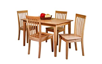 Ordinaire Pilaster Designs   5 PC. Set Natural Solid Pine Wood Dining Room Kitchen  Table U0026
