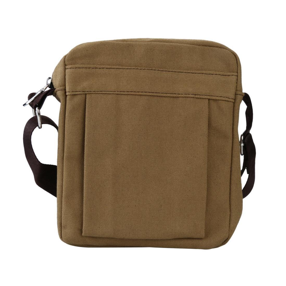 Men's Solid Color Zipper Canvas Shoulder Bag