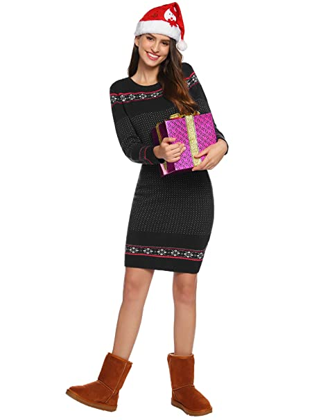 Womens Ugly Christmas Sweater Dress.Abollria Womens Long Sleeve Snowflake Knit Turtleneck Jumper Ugly Christmas Sweater Dress