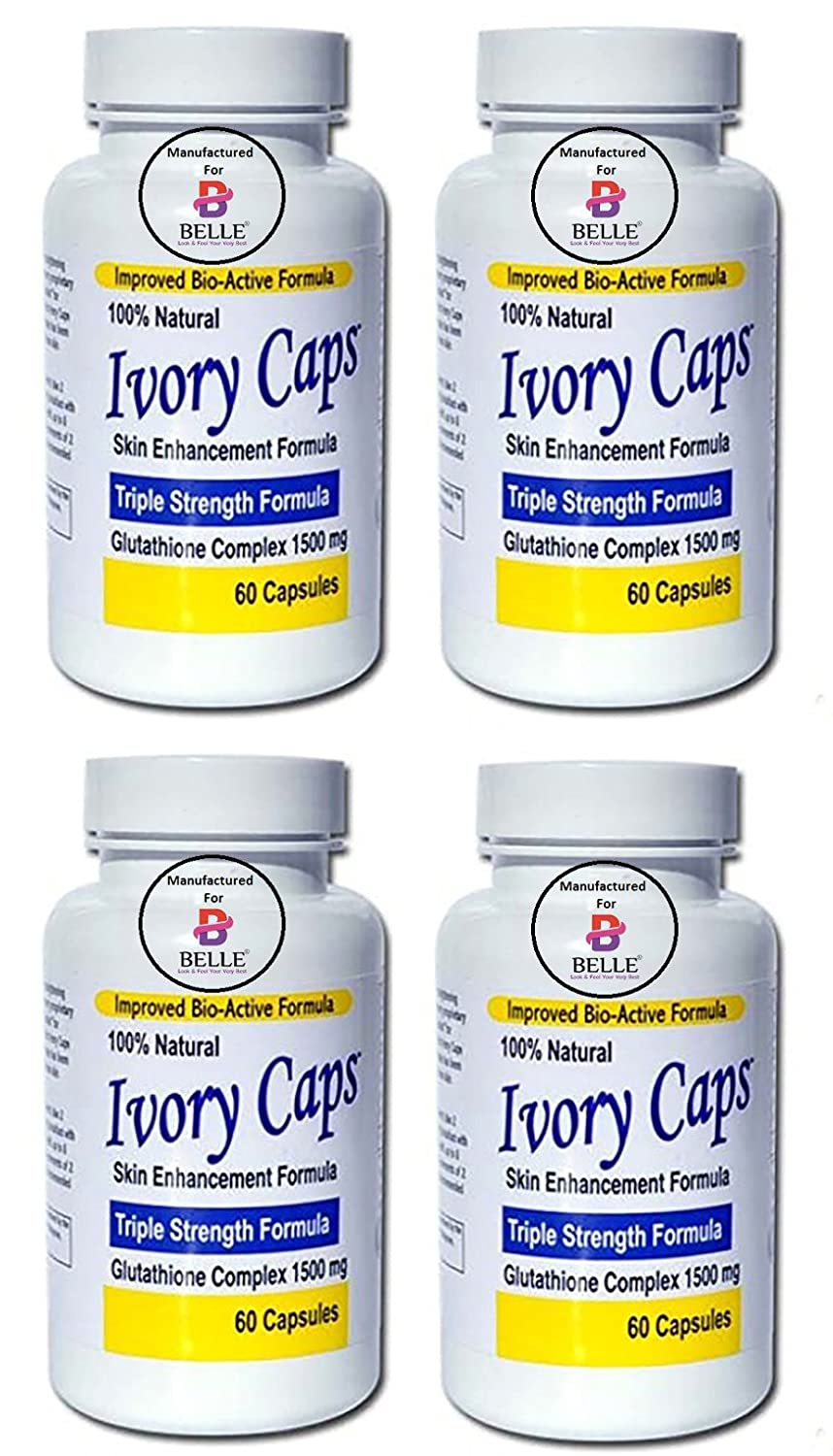 Ivory Caps Skin Whitening Lightening Max Glutathione Complex Skin Enhancement Brightening Capsules Pills Manufactured For Belle - 4 Bottle Ivory Caps By Belle