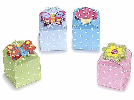 15 cajitas para meter chuches de cartón, de colores con lunares, con cierre con