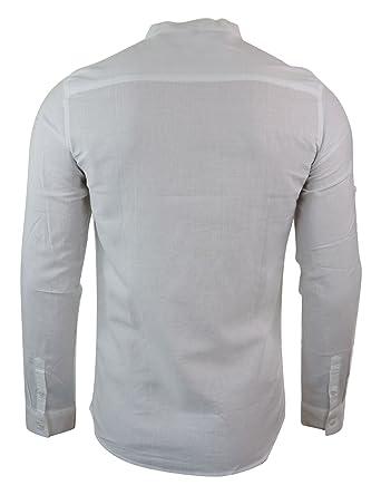 32d493f1914ab Chemise Homme col Rond Style Indien en Lin Coupe Slim Manches Longues a  Rouler l'été: Amazon.fr: Vêtements et accessoires