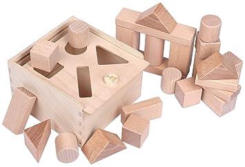 4d855c65cd685d CreaBLOCKS 2-in-1 Steckbox   Formensortierspiel   Sortierbox Baby -  Bauklötze Buchenholz Natur