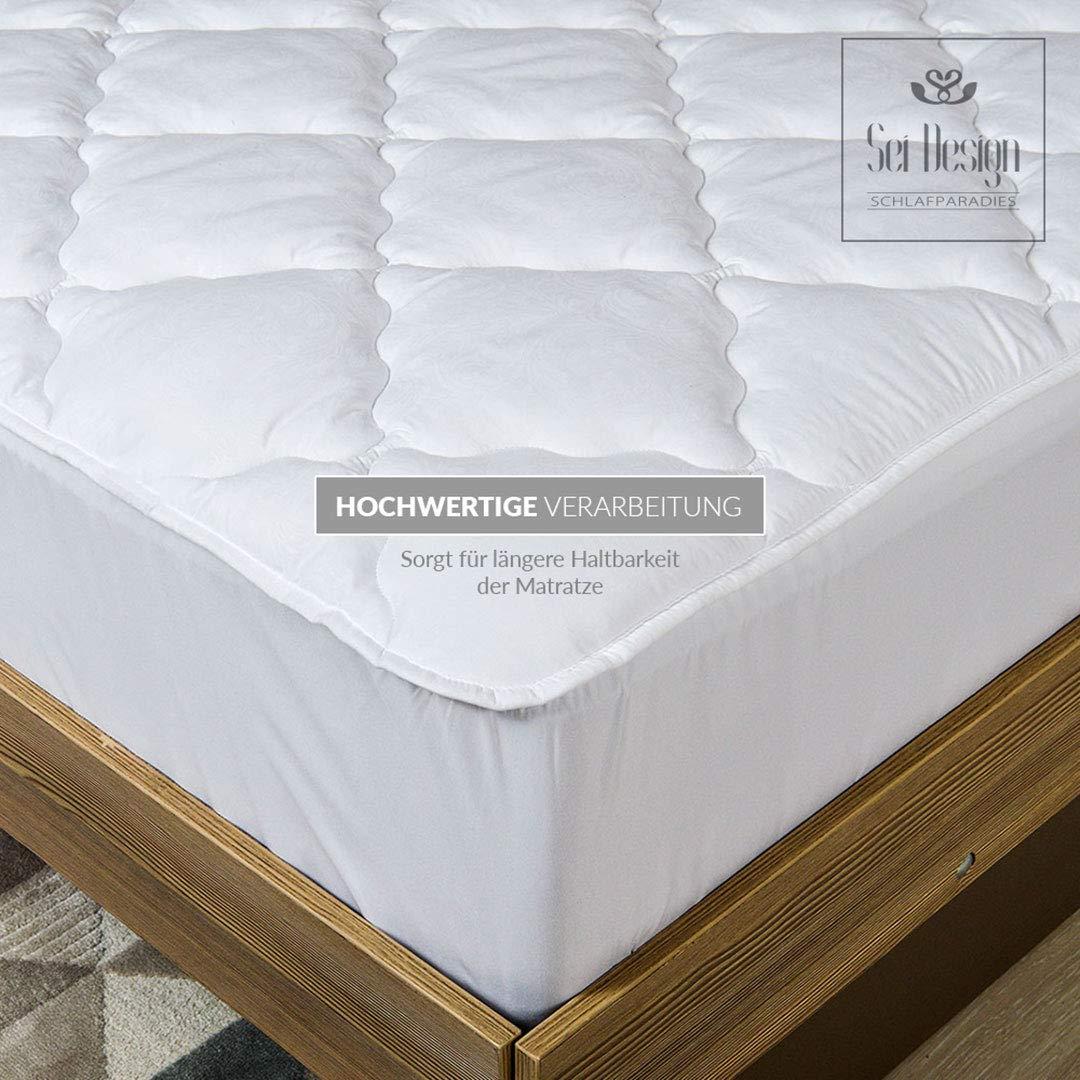 Sei Design protector de colchón lujoso microfibra acolchada 90x200, extra suave. Con doble acolchado, la parte inferior compensa los golpes y convierte su ...
