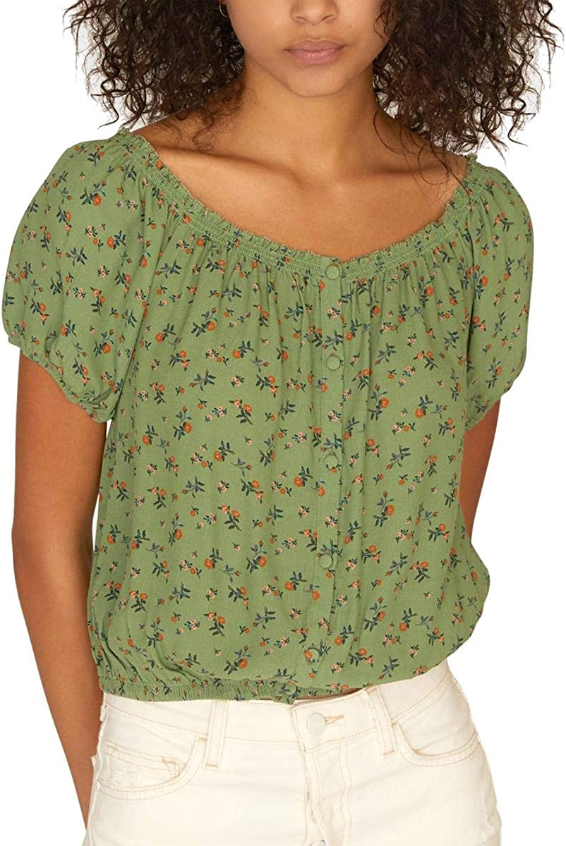 Sanctuary Womens Floral Short Sleeve Peasant Top Green XS