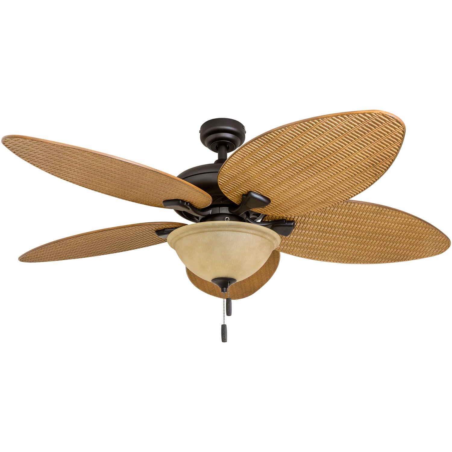 Honeywell Ceiling Fans 50507-01 Palm Island 52-Inch Tropical Ceiling Fan with Tuscan Bowl Light Five Leaf/Wicker Blades, Indoor/Outdoor, Sandstone