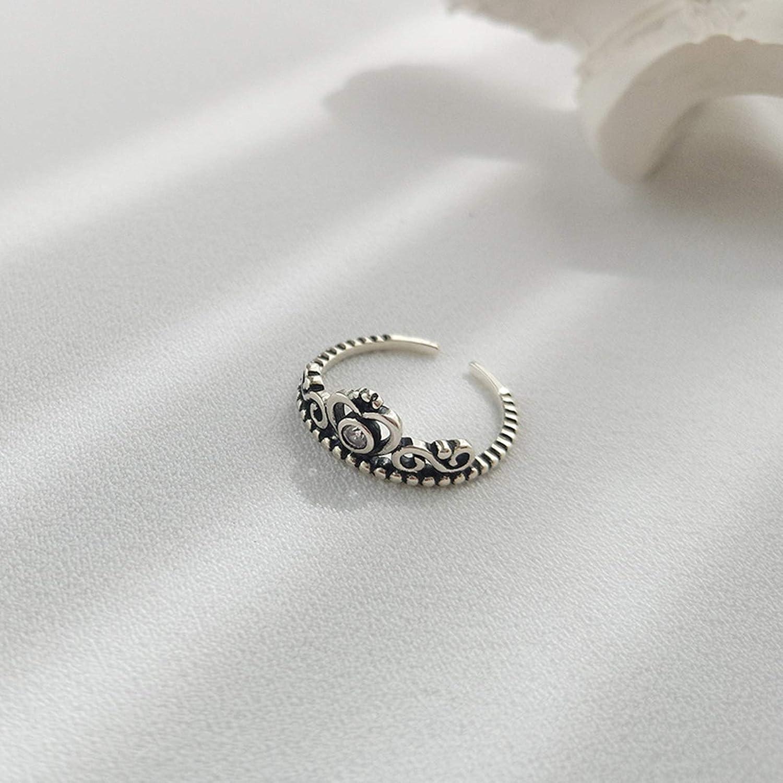 Daesar Sterling Silver Rings for Women Adjustable Ring Reto Crown Ring