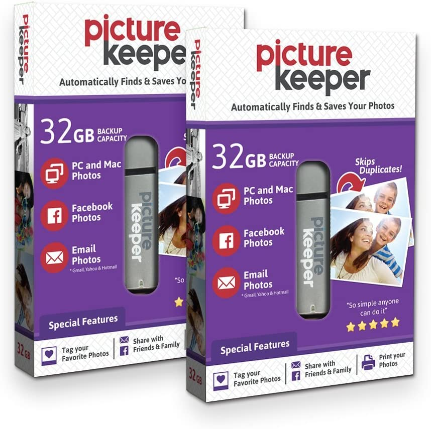 Smart USB Flash Drive 32GB - Picture Keeper Desktop Photo Backup Device for PC and MAC Laptops and Computers (2-Pack Bundle)