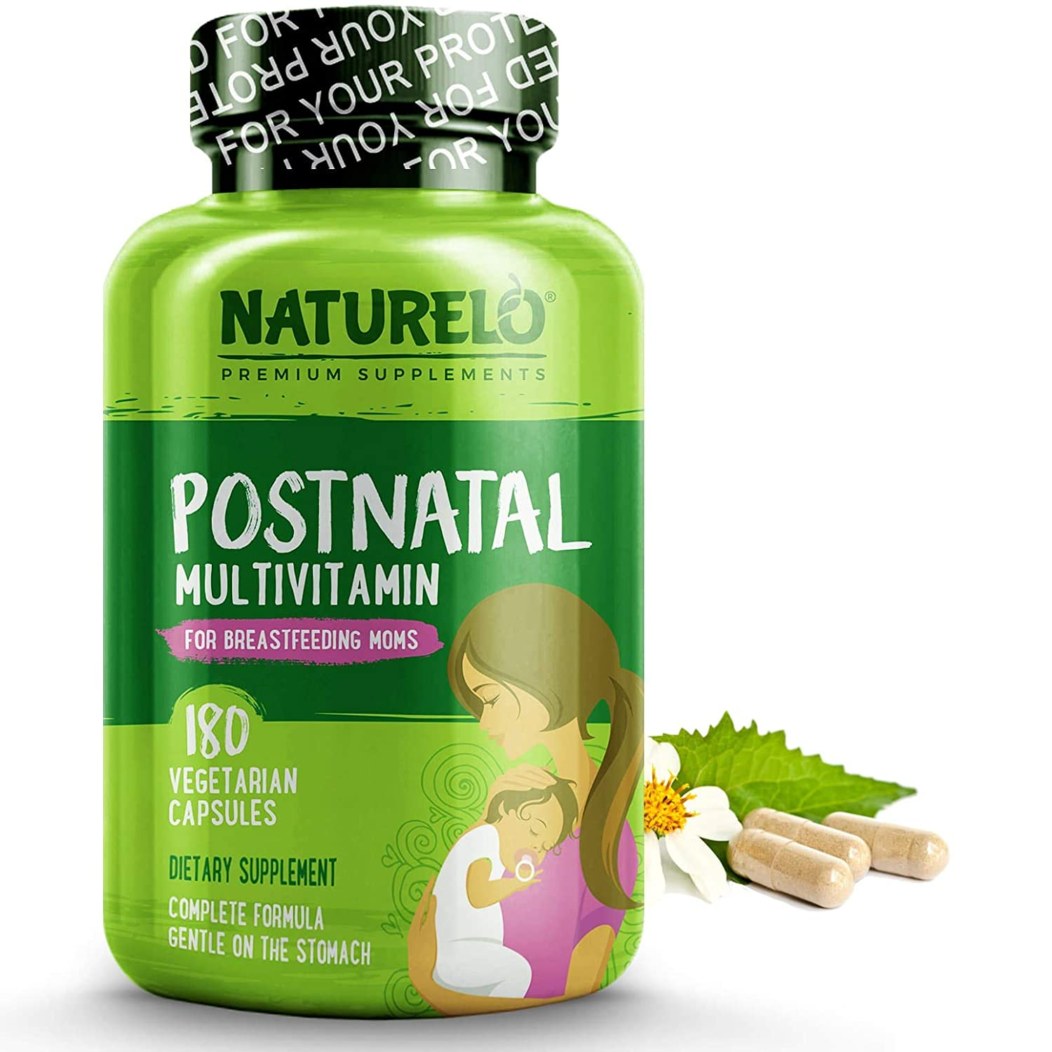 NATURELO Post Natal Multivitamin – Whole Food Postnatal Supplement for Breastfeeding Women – Organic Herbs to Boost Milk Supply – Vitamin D, Folate, Calcium – Best for Nursing Mother, Baby – 180 Caps