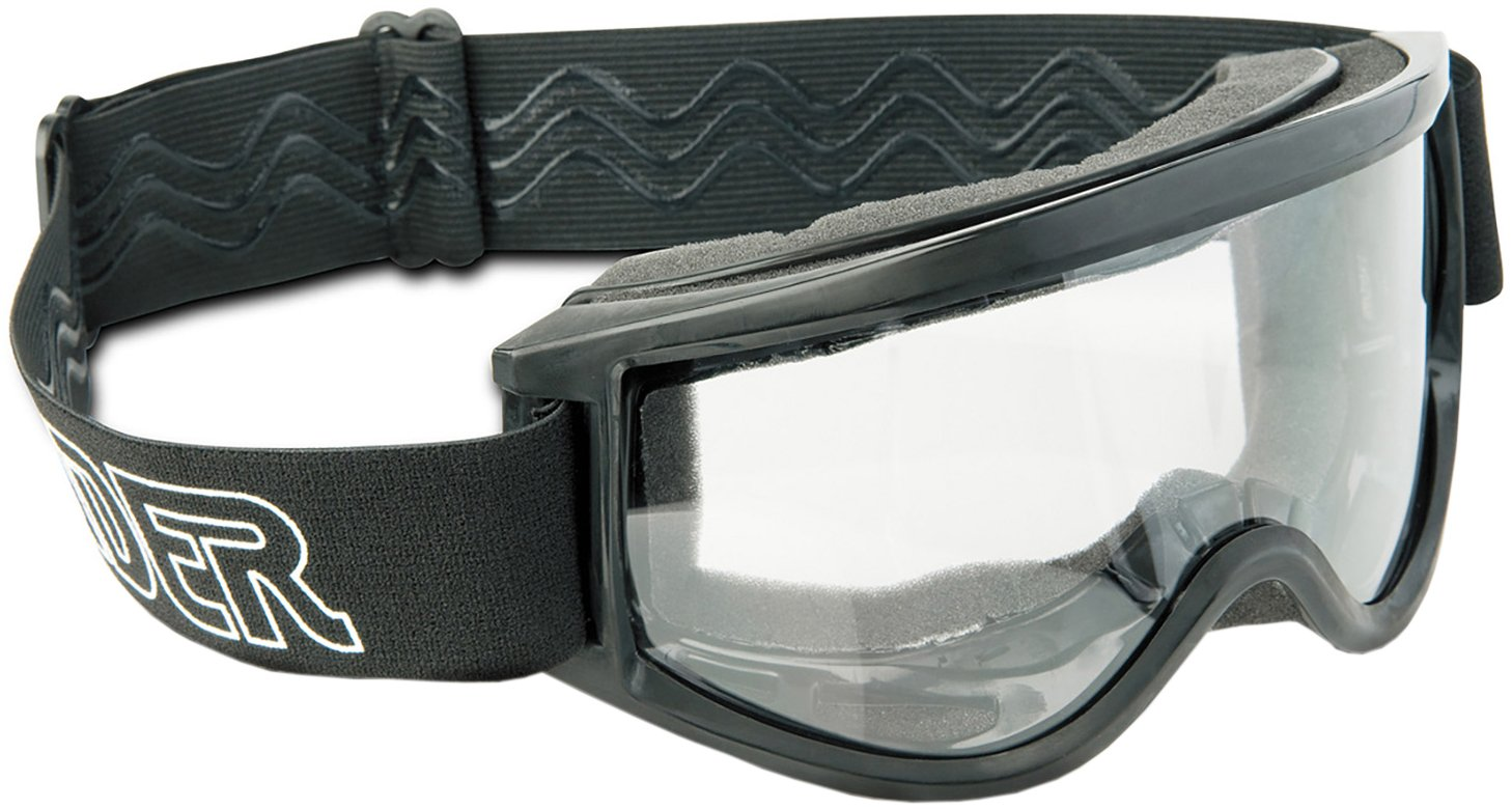 Raider 26-001 Single Lens Impact-Resistant Adult MX Off-Road Goggles, Black Frame/Clear Lens