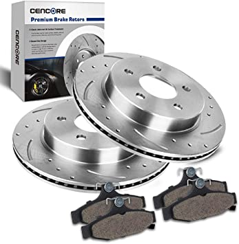 Front Rear Brake Rotors And Ceramic Pads Fits 94-97 Chevy Pontiac Drill Slot