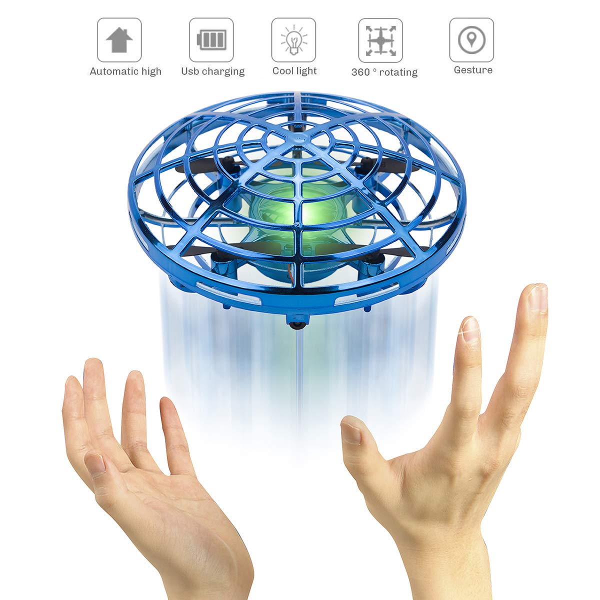 Flying Ball Toy - Sugoiti Mini Drones Quadcopters UFO Aircraft Motion Hand Controlled, Interactive Infrared Induction RC Helicopter with Led Light, Free Hover Automatic Sensing Obstacle, Gift for Kids by Sugoiti (Image #7)