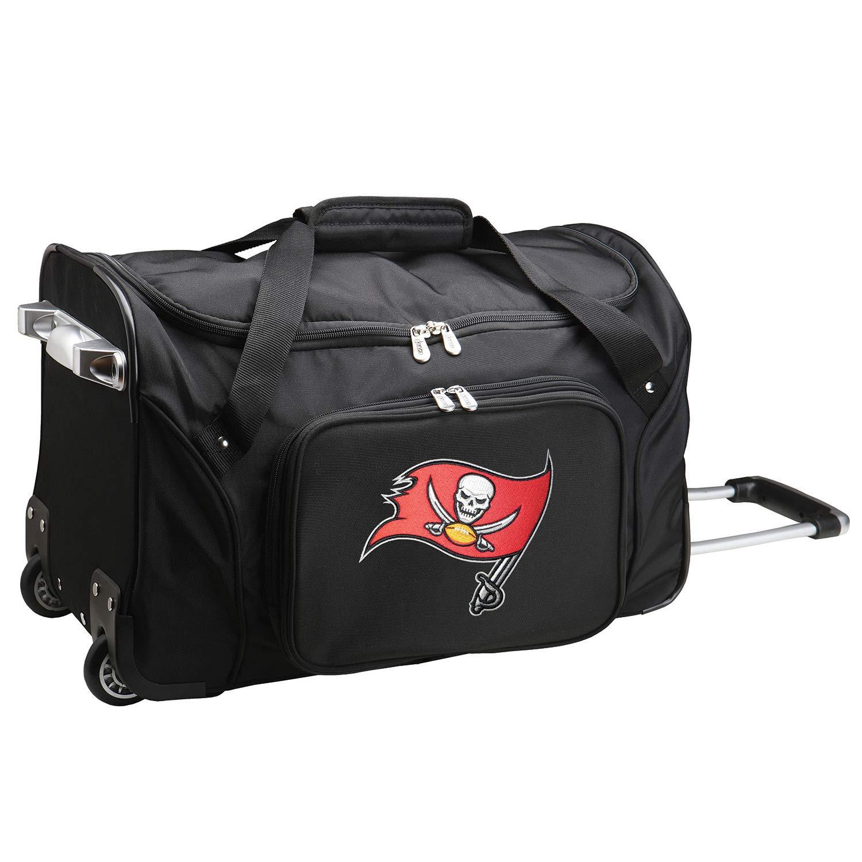 NFL Tampa Bay Buccaneers Wheeled Duffle Bag, 22 x 12 x 5.5, Black by Denco