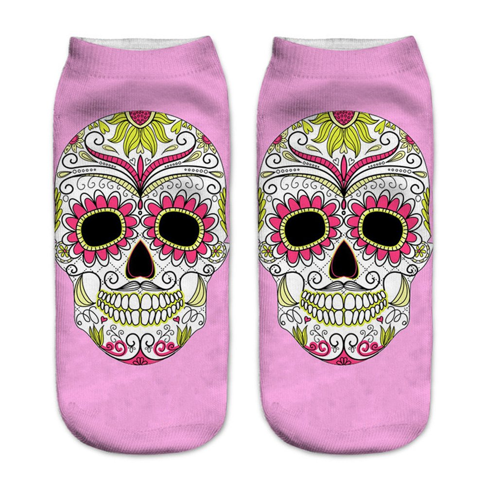 Women's 3D Cartoon Print Funny Smiley Casual Crazy Novelty Ankle Socks Value Pack (skull 1) by Footalk (Image #5)