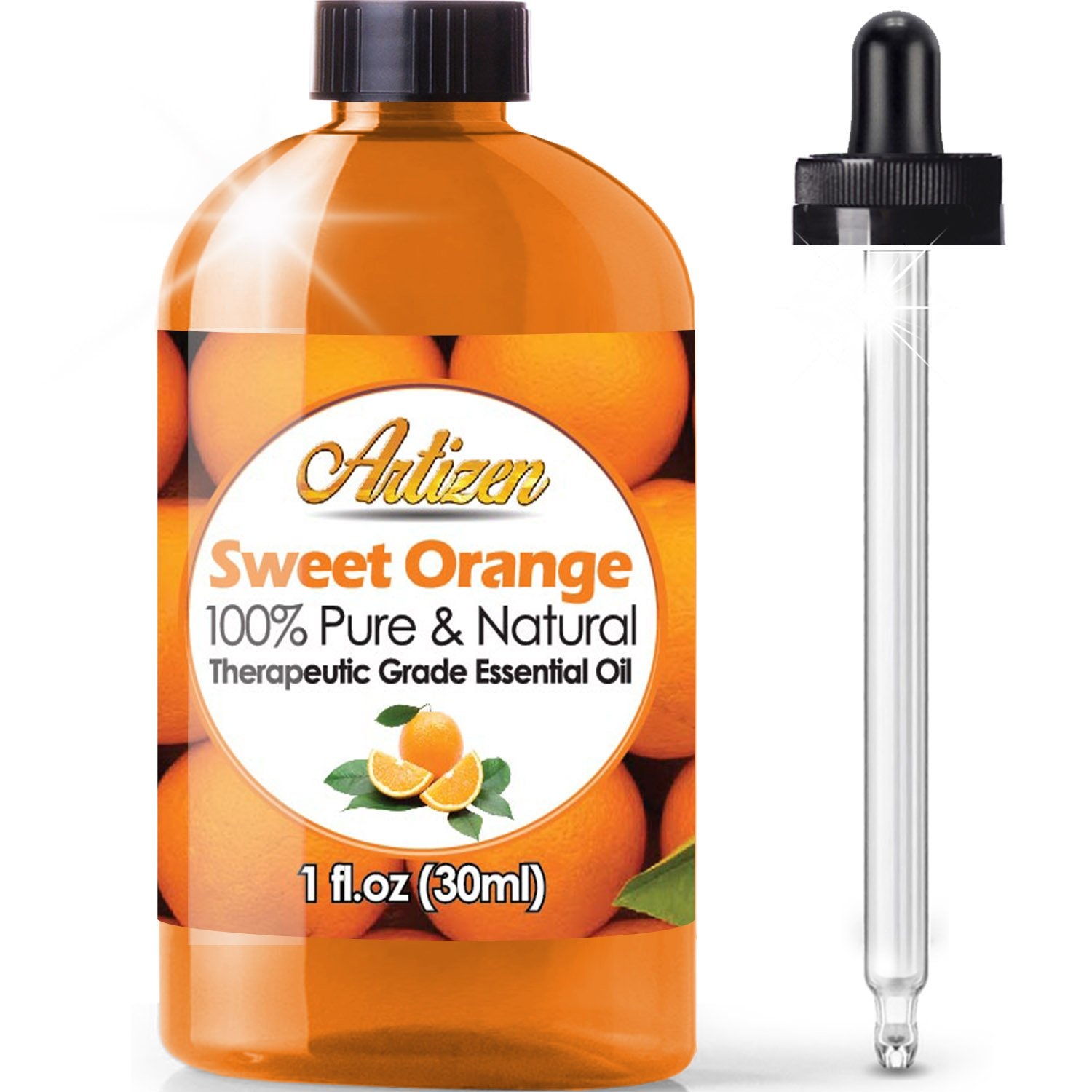 Artizen Sweet Orange Essential Oil (100% PURE& NATURAL - UNDILUTED) Therapeutic Grade - Huge 1oz Bottle - Perfect for Aromatherapy, Relaxation, Skin Therapy & More!