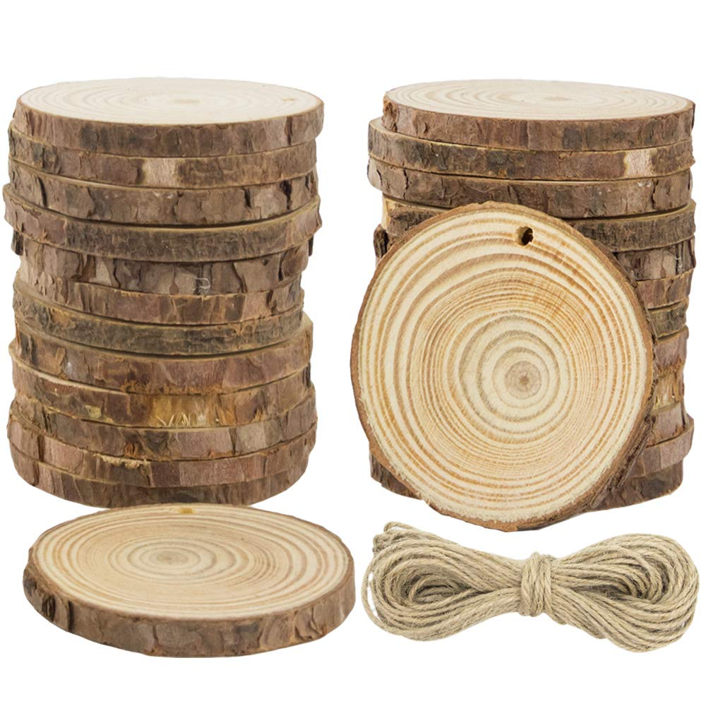 CEWOR 68pcs 2-2.4 Unfinished Predrilled Natural Wood Slices with Holes Craft Wood and 33Ft Jute Twine