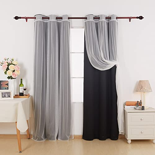 Deconovo Grommet Mix and Match Curtain Set 2 Tulle Lace White Sheer Panels and 2 Black Thermal Insulated Blackout Curtians