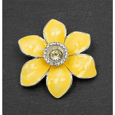 Daffodil Brooch Radiant Yellow Enamel Petals & Gem Middle QEMptoSpj