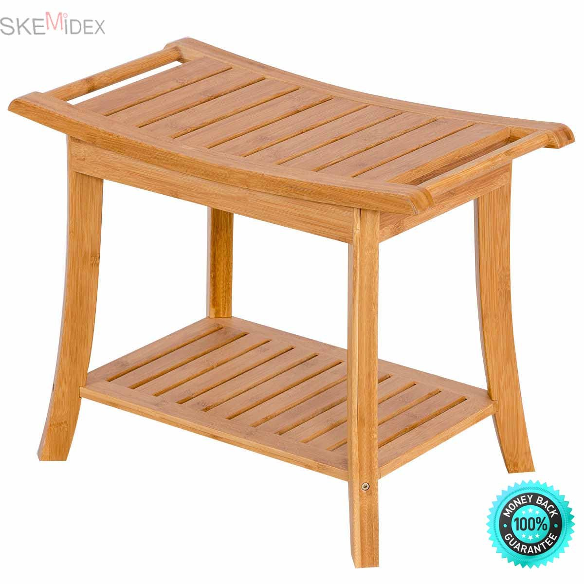 SKEMiDEX--- Bamboo Shower Seat Bench Bathroom Spa Bath Organizer Stool w/Storage Racks Shelf The bathroom stool is practical and attractive.Chic and modern design provides you with convenient .