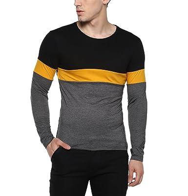 7890a046 Urbano Fashion Men's Solid Slim fit T-Shirt (cns-rnd-blayel 04_Black_S