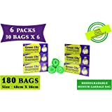Green City- Garbage Bag   Medium: 48CmX56Cm   6 Pack of 30bags- 180Bags   100% OXO-Biodegradable Eco-Friendly Dustbin Bags - Green