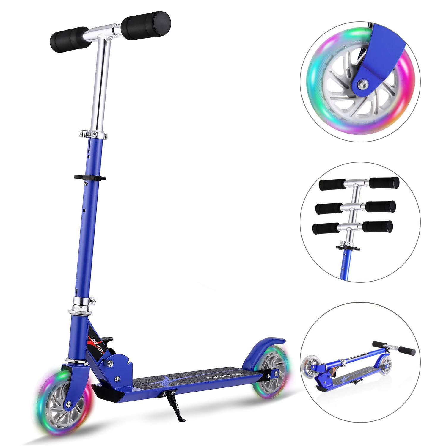 Hikole Scooter for Kids | Scooters Foldable Portable with Adjustable Height Kick Scooter with 2 LED Light Up PU Flashing Wheels, Birthday Gifts for Toddlers Boys Girls Kids Age 4-12 Years Old by Hikole