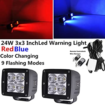 amazon com iov light 24w red blue color changing led pods by rh amazon com Car Stereo Wiring Harness Diagram Toyota Wiring Harness Diagram