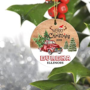 """Merry Christmas Eureka Illinois IL State 2019 - Home Decorations for Living Room, Ceramic Christmas Tree Ornaments Ceramic 3"""" - Hometown for Family, Friend"""