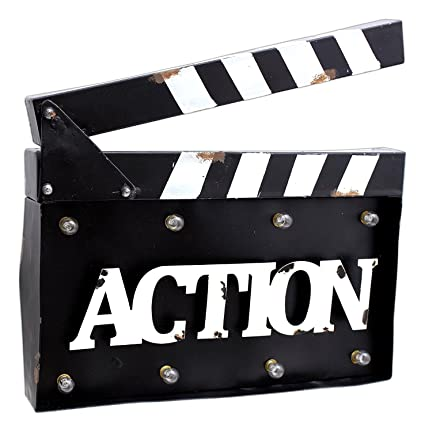 MayRich 14quot X 105quot Movie Clapperboard QuotActionquot Sign With LED Lights