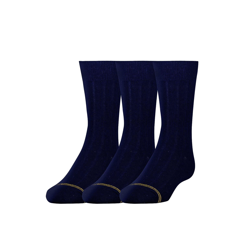 Gold Toe Boys' Wide Rib Dress Crew, 3-Pair Gold Toe Boys 8-20 GT100