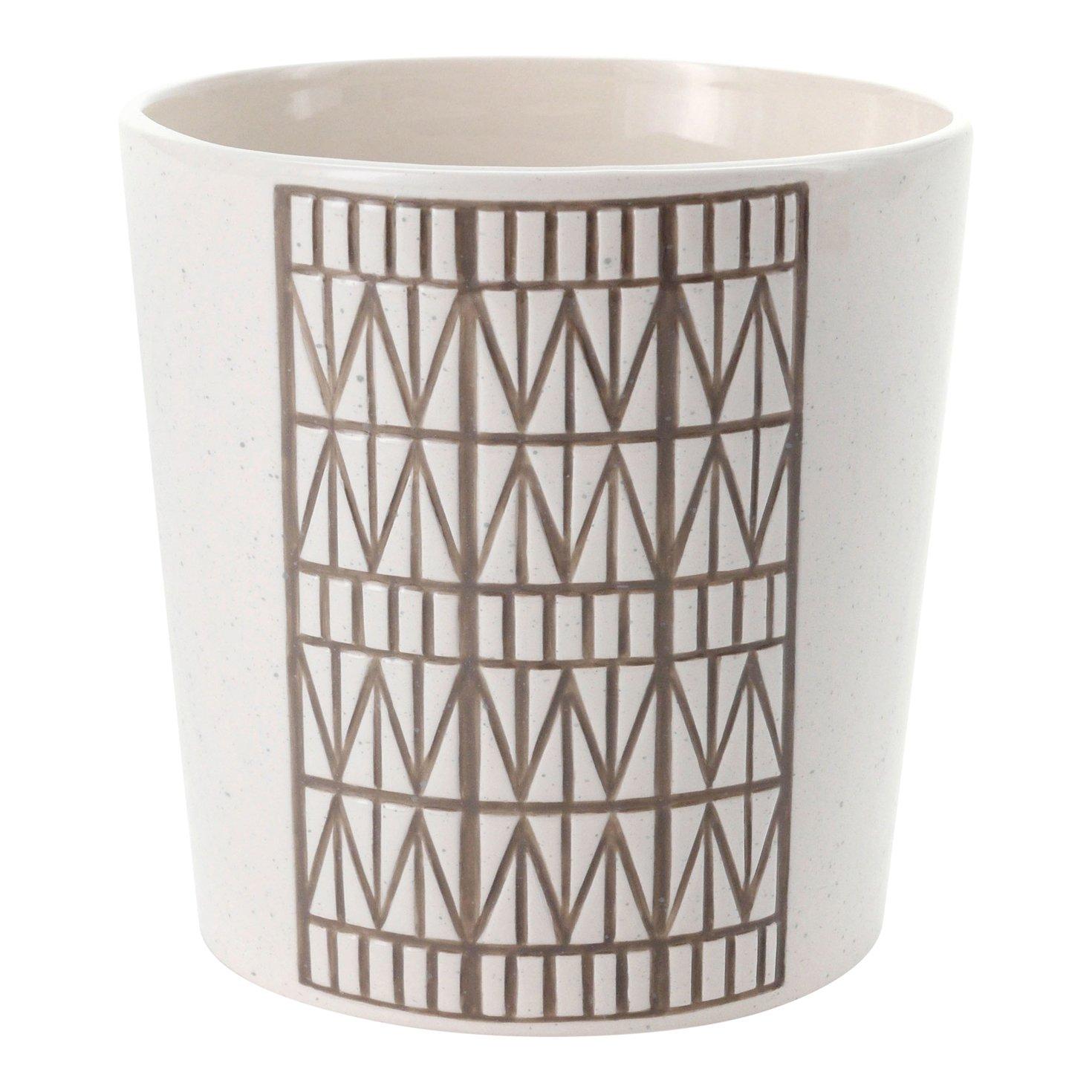 FLOOR 9 Ceramic Pot with Brown Debossed Diamond Design, Medium 7 inch