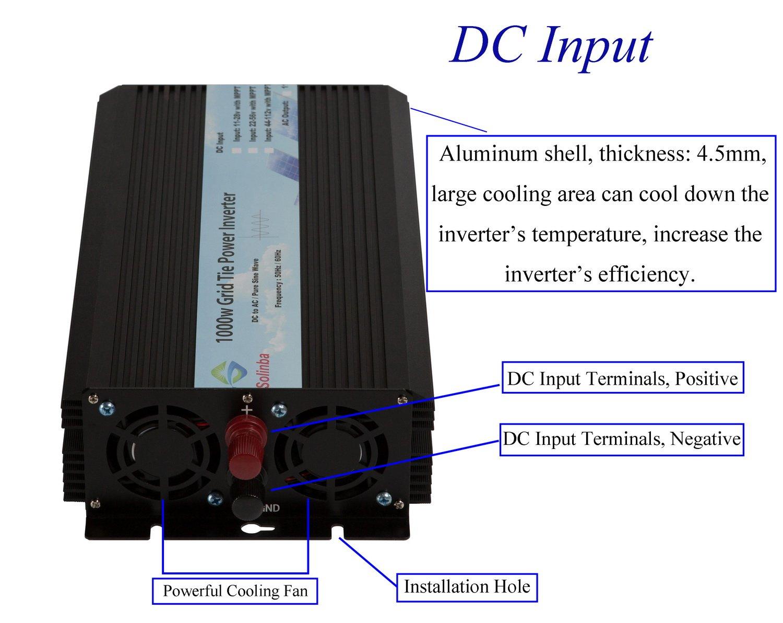 Solinba 1000w Pure Sine Wave Grid Tie Power Inverter How To Build A100 Watt Circuit Homemade Dc22 56v Ac90 130v For 24v Solar System Usa Plug Garden Outdoor