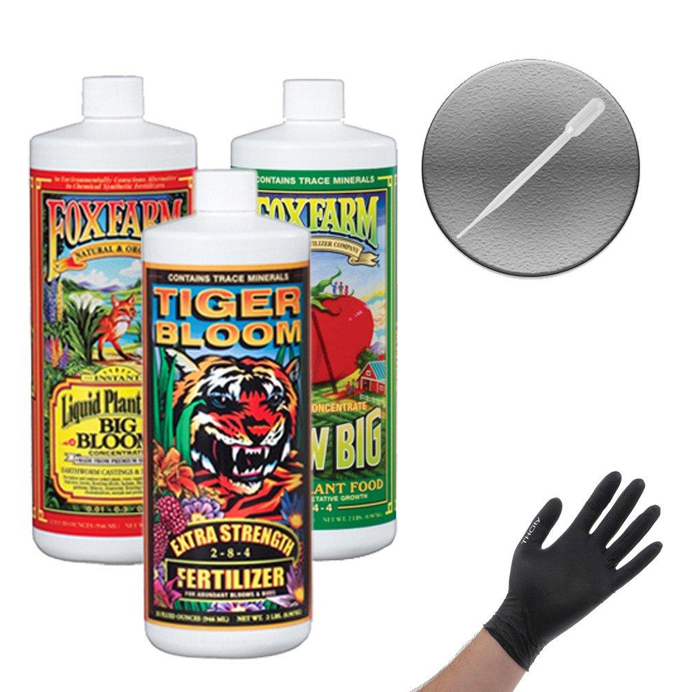 Fox Farm Liquid Nutrient Trio Soil Formula: Big Bloom, Grow Big, Tiger Bloom (Pack of 3 - 32 oz. bottles) 1 Quart Each + Twin Canaries Chart & Pipette by Fox Farm (Image #2)
