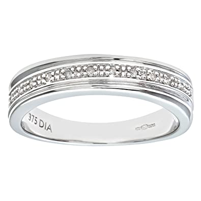 Naava Womens 9 Ct White Gold Diamond Wedding Ring