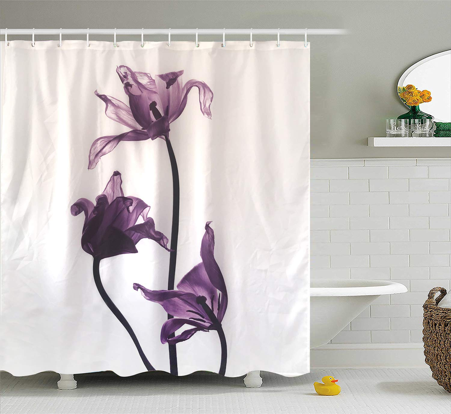 Purple Shower Curtain Sets For Bathroom Withered Transparent Tulips Flowers