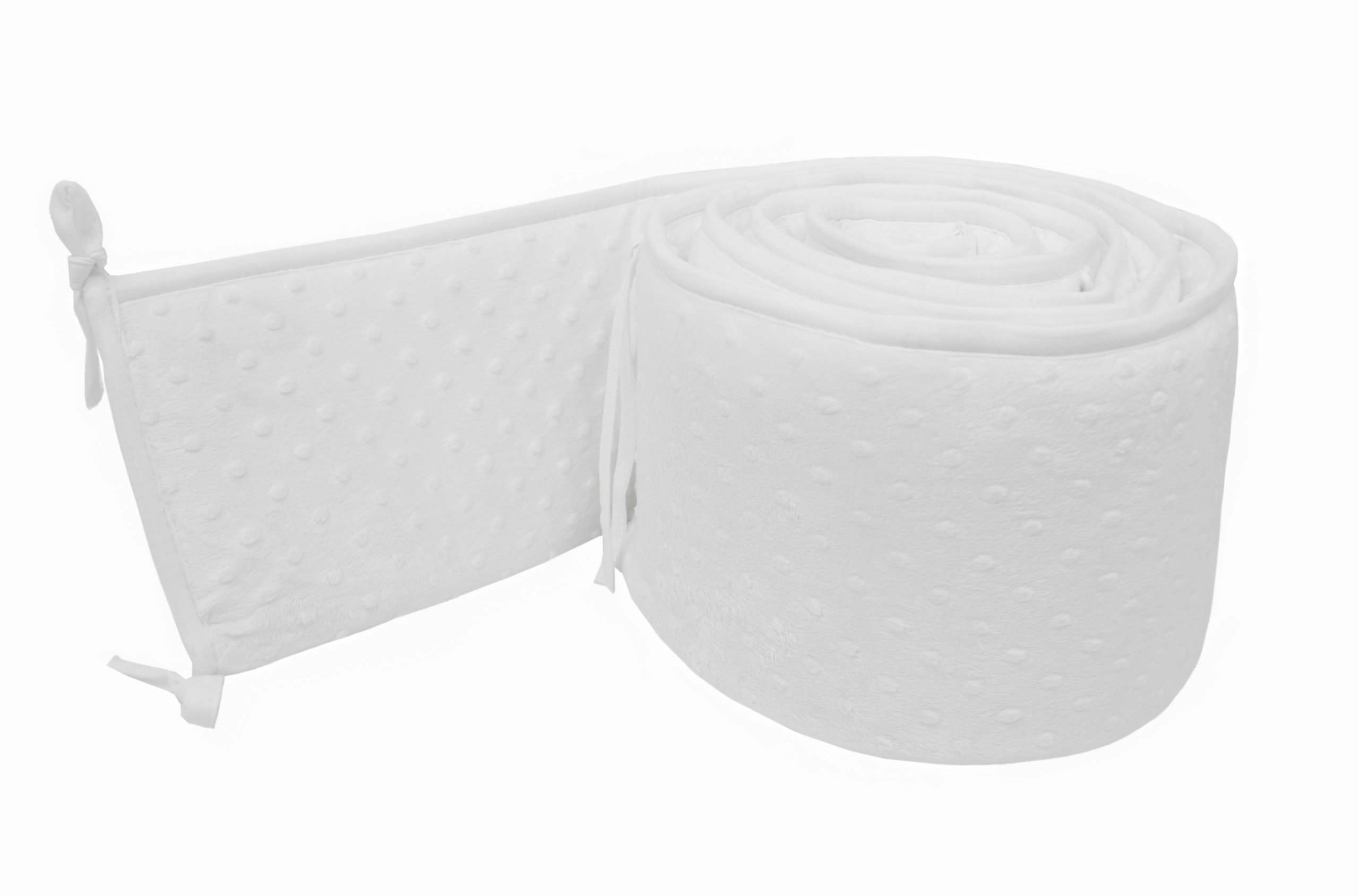 American Baby Company Heavenly Soft Minky Dot Portable and Mini-Crib Bumper, White Puff (Not for Crib), for Boys and Girls by American Baby Company