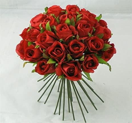 Amazon 26 pcs artificial flowers red rose buds bundle bouquet 26 pcs artificial flowers red rose buds bundle bouquet silk flower wedding cake decorating floral crafts mightylinksfo
