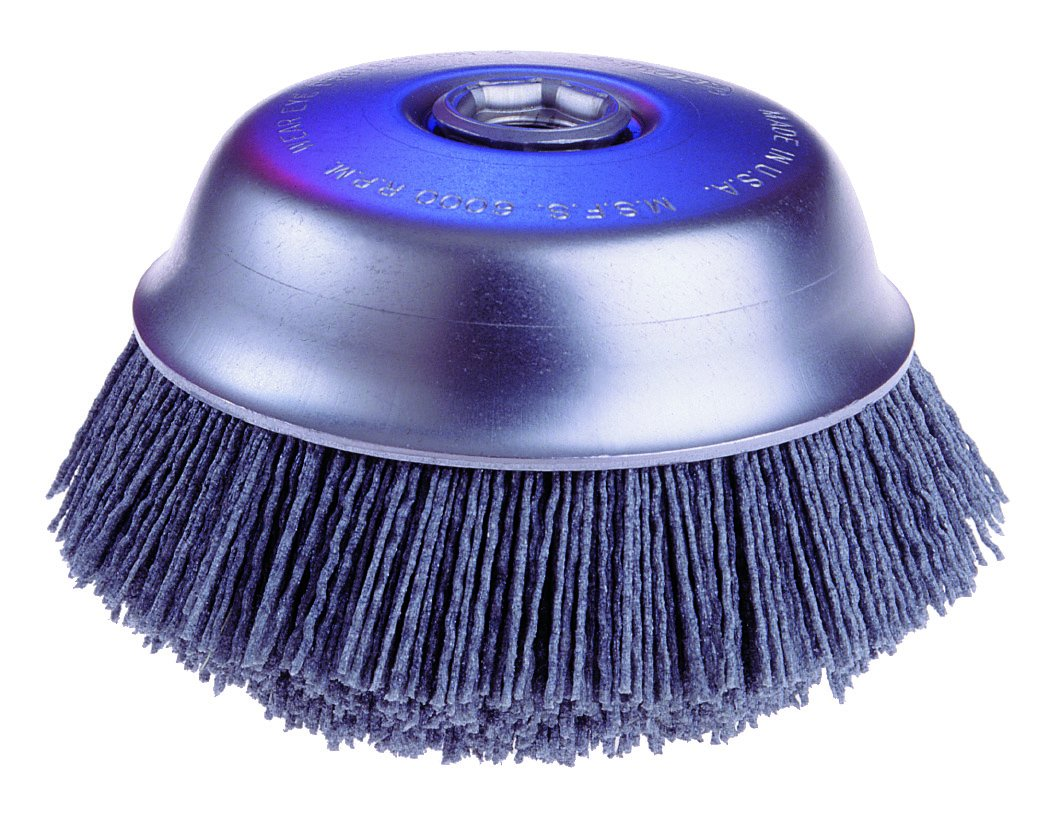 Osborn ATB Abrasive Nylon Cup Brush with Round Trim, Silicon Carbide Bristle, 6000 RPM, 6'' Diameter, 80 Grit by Osborn